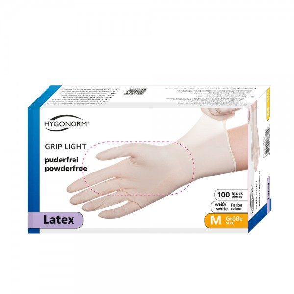 Latexhandschuh Grip Light - Gr.M - 100stk - weiß