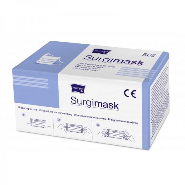 Medizinischer Einweg- Mundschutz, Typ II, mit Nasenbügel & Ohrschlaufen